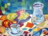 Reggeli a szabadban csendélet - olajfestmény, vászon, 80cmx60cm