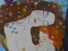 Impresszió Gustav Klimt nyomán 60cm x 60 cm olaj vászon vegyestechnika